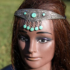 Turkoman Tribal CROWN Handmade Headpiece Belly Dance Light Green Malachite 619k6