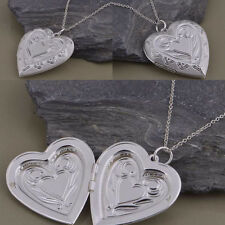 Heart-Shaped Chain Necklace 925 Silver Plated Photo Frame Locket Women Pendant