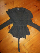 GARNET HILL Small S Charcoal Cabled Wrap Cardigan Belted Sweater Wool