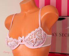 NWT VICTORIA'S SECRET Designer Collection Unlined Lace Demi Bra 34C Pink/ White