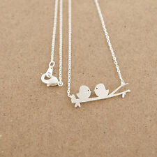 304 Stainless steel Gold or Silver Plated 2 Birds Design Pendant Dainty Necklace