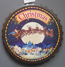 "14"" tin metal tray Christmas Santa with sleigh and reindeer bottle cap design"