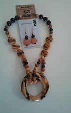 Kazuri Hand-Painted Fair Trade Golden Firefly Ceramic Necklace Earring Set Kenya