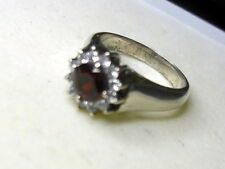 UNIQUE  NATURAL RED GARNET  RING  92.5 SILVER  SIZE 7 FROM SRI LANKA