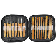 20pcs Carbonize Bamboo Crochet Hooks Knitting Needles Craft With Black Case