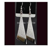 Saprkling Silver Plated frosted Shiny Long Drop Dangle Hook Earring Women/ Girls