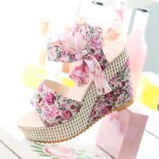 Elegant Korean Lady Bowknot Open Toe Flower Print High Heel Shoes Wedge Sandals