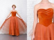Vintage 50s Velvet Cocktail Party Gown Tulle Tiered Maxi Rust XS