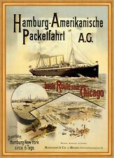Hamburgo americana Packetfahrt AG New York chicago barco mercante carteles a2 280