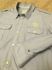 GORGEOUS TOMMY HILFIGER DENIM BABY BLUE MILITARY STYLE SHIRT L LARGE COST £95