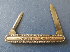 BEAUTIFUL EMPIRE 2 BLADE STERLING SILVER POCKET KNIFE w FLORAL INLAY Winstead CT