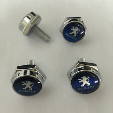 4 pcs Car License Plate Frame Fastener Screw Caps Bolt Covers For PEUGEOT Blue