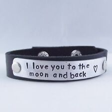 """Fab Handmade Personalised Message """"I love you..."""" Real Leather Cuff Bracelet"""