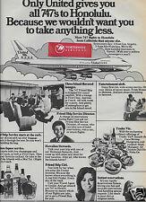 UNITED AIRLINES 1972 BOEING 747-100 FRIENDSHIP 4 FLIGHTS LOS ANGELES-HONOLULU AD