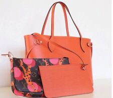 LOUIS VUITTON ORANGE/ PIMENT EPI NEVERFULL PM,  USED