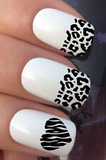 NAIL ART SET #692 x17 LEOPARD TIGER FRENCH TIP WATER TRANSFERS DECALS STICKERS