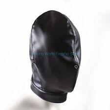 Soft Full Head Restraints Harness Blindfold Headmask Lacing Hood PU Leather Mask