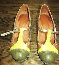 Chie Mihara brown/green Mary Jane heels, size 37