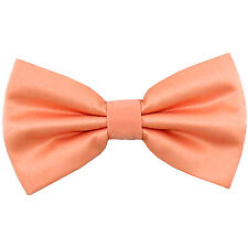 New men's pre-tied bowtie solid 100% polyester formal wedding prom peach