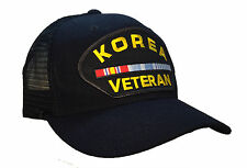 Korean War Veteran Hat Black Ball Cap MESH BACK TRUCKER Korea Service Ribbon