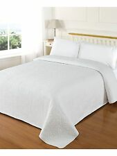 THROW Bedspread White Luxury Heavy Cotton Embroidered - DOUBLE  - BNWT