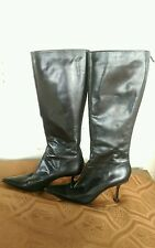Women's Jimmy Choo Black Leather Pointy Toe Boots size 9 or 39 Italian
