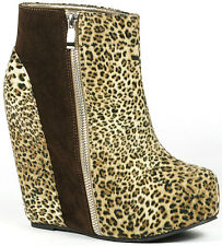 Leopard Round Toe High Platform Wedge Lace Up Ankle Bootie Boot 7 us Glaze