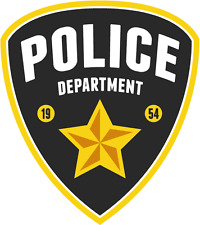 "Police Department Star Emblem Sign Car Bumper Sticker Decal 4"" x 5"""