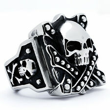 Stainless Steel Men's Vintage Skull Biker Ring