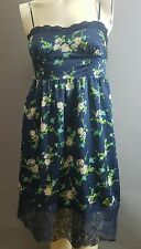 Forever 21 Slip Dress Size XS NWT Floral Eye Hook Closure Lace Trim Knee Length