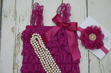 Fuchsia lace romper headband and pearl Necklace set, baby girls Romper