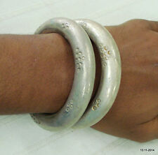 vintage antique ethnic old silver bangle bracelet cuff set 2pc tribal jewelry