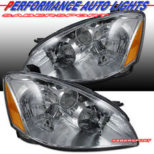 PAIR BRAND NEW CHROME HEADLIGHTS EAGLE EYES MADE FOR 2002-2004 NISSAN ALTIMA