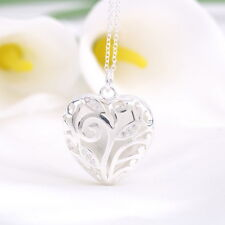 Stylish 925 Silver Plated Hollow Heart Locket Charm Pendant Necklace Chain FE