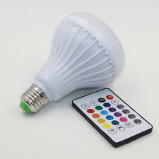 Wireless Bluetooth Speaker + Power E27 LED rgb Bulb Light Lamp Music Playing