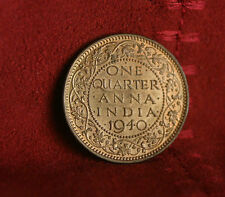 India 1/4  Anna 1940 British Bronze Unc World Coin King George V One Quarter