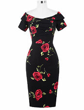 Womens Vintage Elegant Floral Ruched Dress Prom Casual Bodycon Slim Party Dress