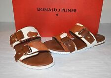 New $178 Donald J Pliner DJP Libra Saddle Cowprint Leather Slide On Sandals 6