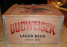 2015 Limited Edition Budweiser Wooden Wood Crate w/ Glasses & Certificate