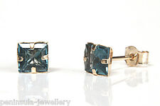 9ct Gold London Blue Topaz Studs earrings Made in UK Gift Boxed