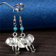 Elephant Earrings Turquoise Blue Boho Hippy Hippie Bohemian Vintage Retro Animal