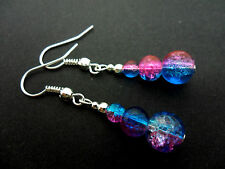 A PAIR OF PINK & BLUE CRACKLE GLASS BEAD  DANGLY EARRINGS. NEW.