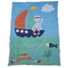 100% Cotton Patchwork Stitched Cot Quilt/Wrap - 102x76cms - Powell Craft -Sailor