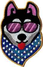 110011 Super Cool Dog Sunglasses Bandana Embroidered Iron On Patch Husky Puppy