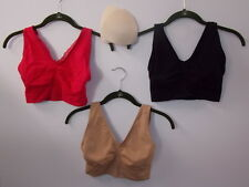 "Rhonda Shear Comfort Support ""Ahh"" Bra 3-pack w/Removable Pads-BERRY-LARGE-NEW"