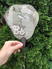 """ANTIQUE Hand Held FAN Hand Painted Silk Bird on Branch  Blossoms WOOD handle 14"""""""