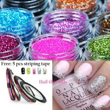 12 Colours Glitter Dust Powder Set  Nail Art Tips Decoration Crafts Gold Silver