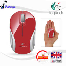 NUOVO Logitech M187 Wireless Mini Mouse Rosso UK STOCK