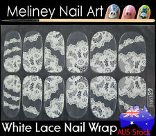 TZ077 White Lace Nail Art Wrap Full Cover Stickers Flower Floral Transparent