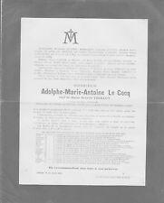 1894 FAIRE-PART Adolphe-Marie-Antoine LE COCQ, veuf d'Octavie THIBAUT Ixelles